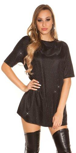Lesklé tričkové šaty Čierna