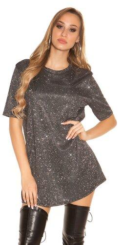 Lesklé tričkové šaty | Strieborná