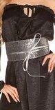 Štýlový trblietavý opasok Čierno-strieborná