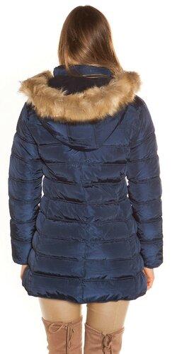 Prešívaná zimná bunda s kožušinou Tmavomodrá