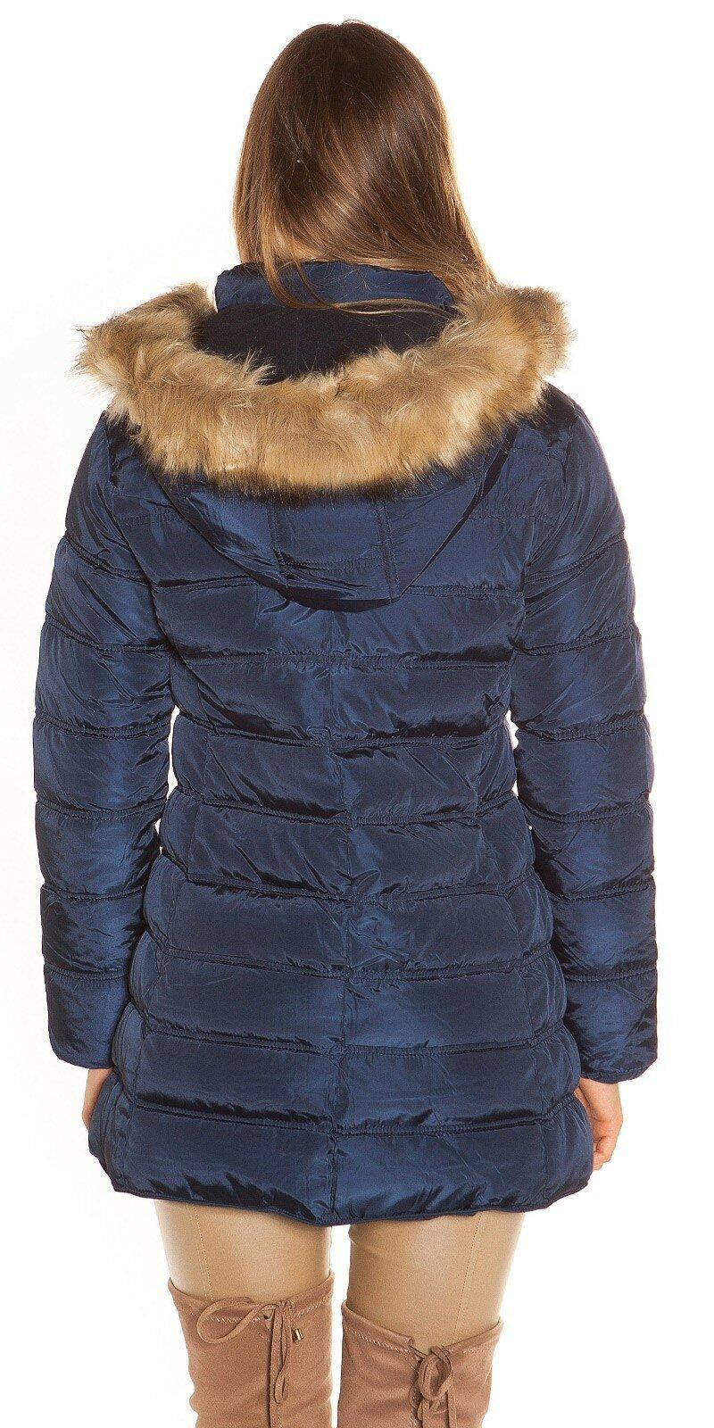 e517b82ac ... Prešívaná zimná bunda s kožušinou Tmavomodrá ...