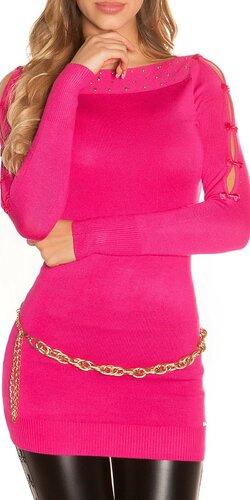 Dlhý sveter s mašličkovými rukávmi | Ružová
