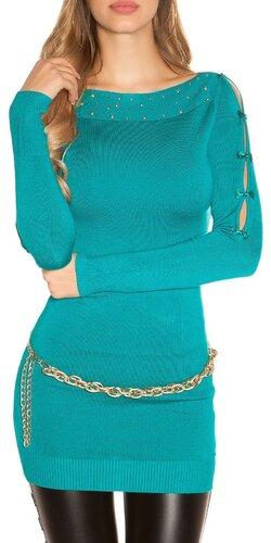 Dlhý sveter s mašličkovými rukávmi | Zafírová