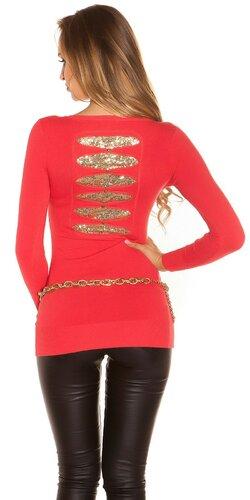 Dámsky dlhý sveter so zlatými flitrami na chrbte Koralová