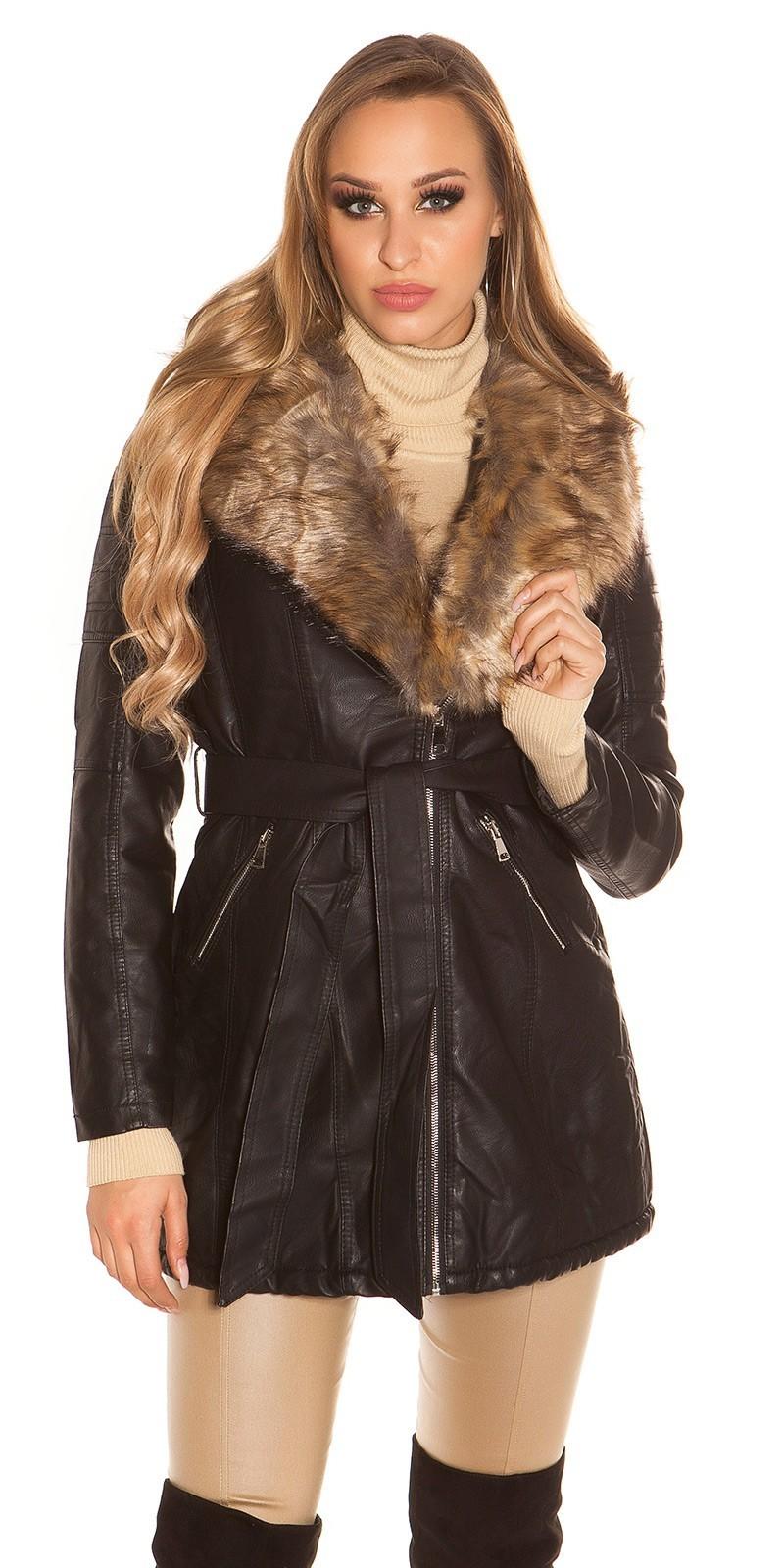 bf6d017edba0 Dlhý čierny kabát koženého vzhľadu Čierna ...