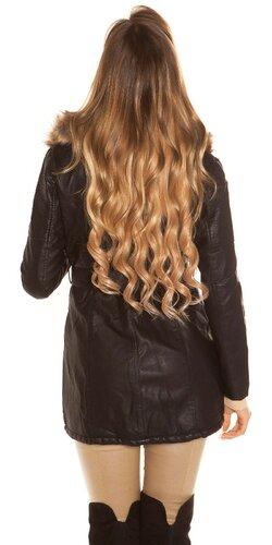 Dlhý čierny kabát koženého vzhľadu Čierna