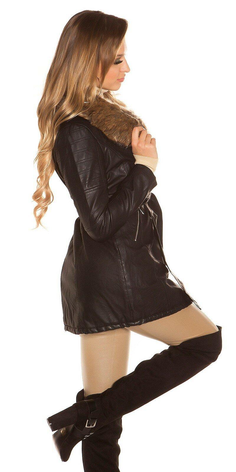 134f56d6e332 ... Dlhý čierny kabát koženého vzhľadu Čierna ...