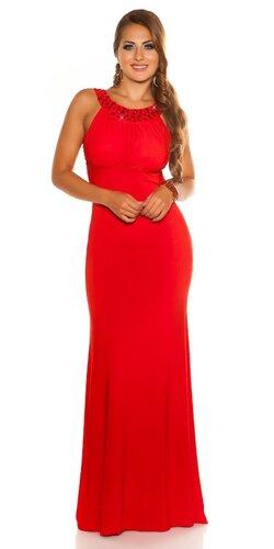 Dámske rafinované maxi šaty Červená