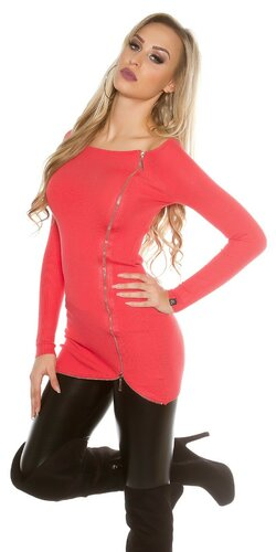 Dlhý KouCla sveter so zipsom | Koralová