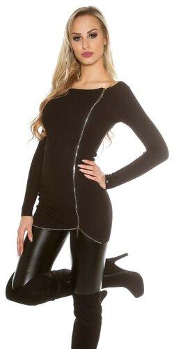Dlhý KouCla sveter so zipsom | Čierna