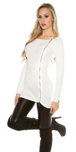 Dlhý KouCla sveter so zipsom | Biela