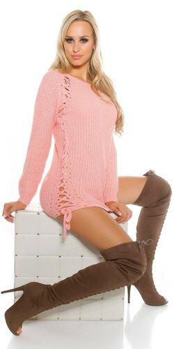 Hrubý pletený sveter so šnurovaním | Bledá ružová