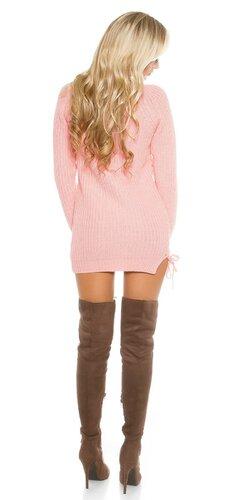 Hrubý pletený sveter so šnurovaním Bledá ružová