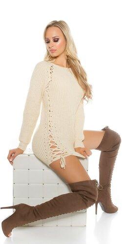 Hrubý pletený sveter so šnurovaním | Béžová
