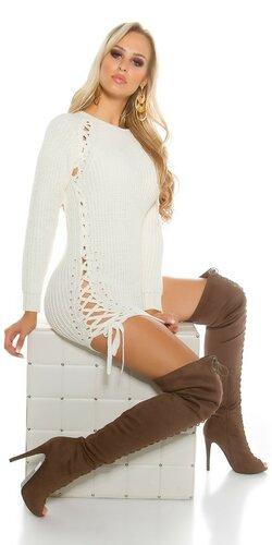 Hrubý pletený sveter so šnurovaním | Krémová