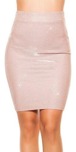 Lesklá sukňa pencil strih Bledá ružová