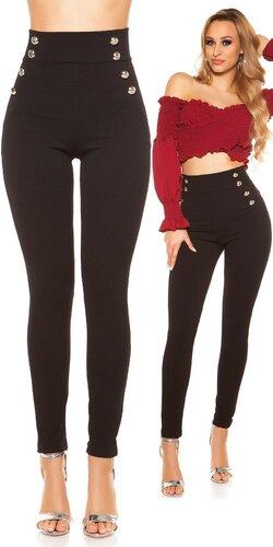Nohavice s vysokým pásom s veľkými gombíkmi | Čierna