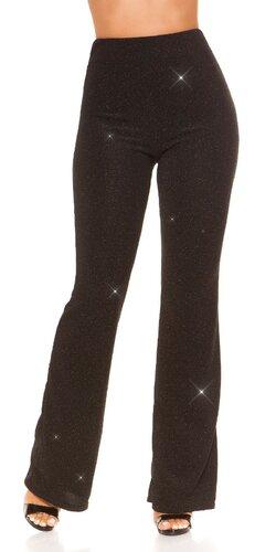 Lesklé zvonové nohavice s vysokým pásom | Čierna