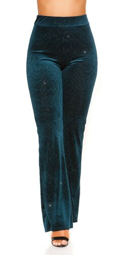 Zvonové nohavice velvet look | Zafírová