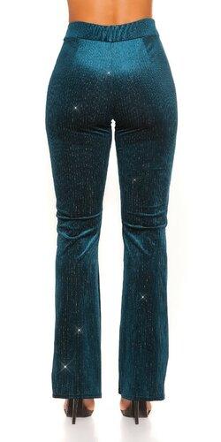 Zvonové nohavice velvet look Zafírová