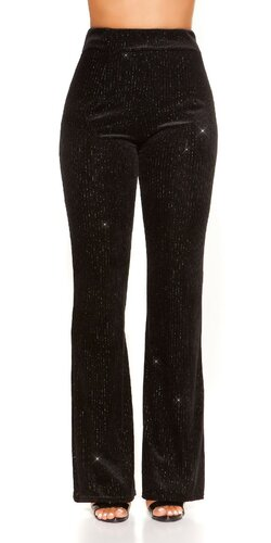 Zvonové nohavice velvet look | Čierna