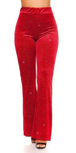 Zvonové nohavice velvet look | Bordová