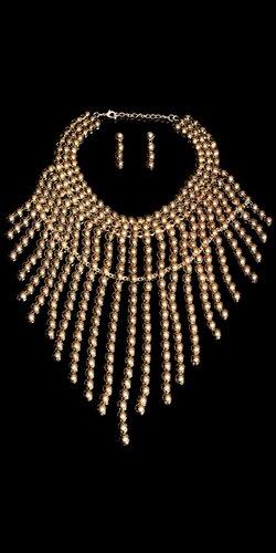 Guličkový náhrdelník + náušnice Zlatá
