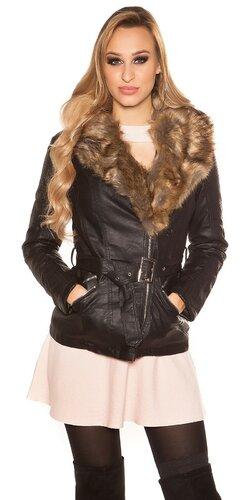 Čierna bunda s kožušinou