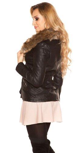 Čierna bunda s kožušinou Čierna
