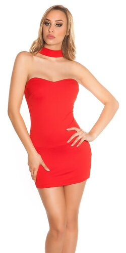 Mini šaty držiace okolo krku | Červená