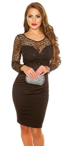 Šaty s dlhým rukávmi s flitrami | Čierna