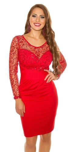 Šaty s dlhým rukávmi s flitrami | Červená