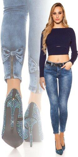 Džínsy s mašľami na lýtkach | Modrá