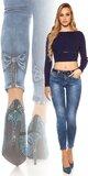 Džínsy s mašľami na lýtkach Modrá