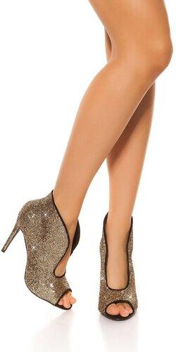 Vysoké lesklé topánky s otvorenou špičkou