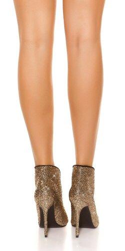 Vysoké lesklé topánky s otvorenou špičkou Zlatá