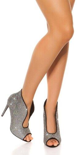 Vysoké lesklé topánky s otvorenou špičkou | Strieborná