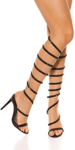 Vysoké kamienkové sandálky Čierna