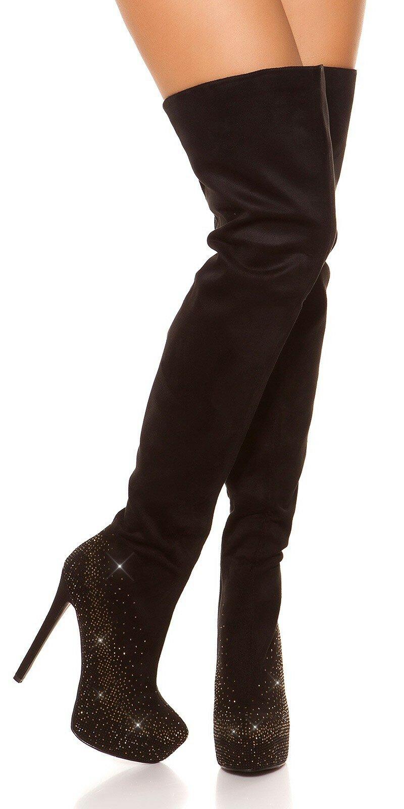 9dfb7fc2a9 Vysoké čierne čižmy s kamienkami  Velkosť topánok 36 Farba Čierna