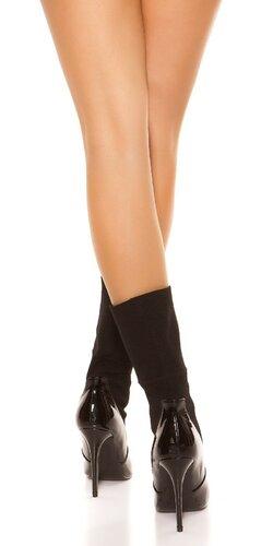 Členkové čižmy s ponožkami Čierna