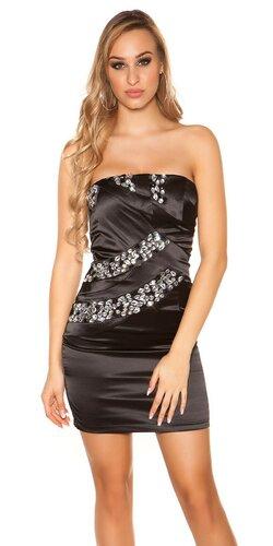 Dámske mini šaty s kamienkami saténového vzhľadu | Čierna
