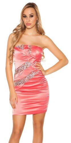 Dámske mini šaty s kamienkami saténového vzhľadu | Koralová