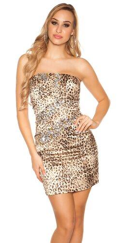 Dámske mini šaty s kamienkami saténového vzhľadu | Leopard