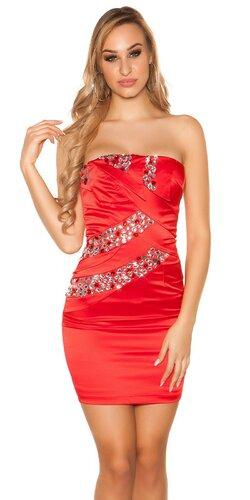 Dámske mini šaty s kamienkami saténového vzhľadu | Červená