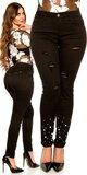 Čierne moletkovské džínsy s perlami Čierna