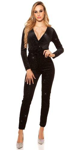 Lesklý overal Velvet look | Čierna