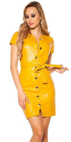 Mini šaty koženého vzhľadu s gombíkmi | Horčicová