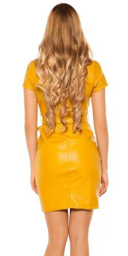 Mini šaty koženého vzhľadu s gombíkmi Horčicová