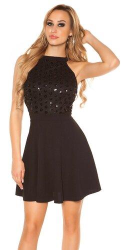 Šaty s áčkovou sukňou | Čierna