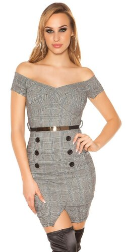 Biznis šaty s opaskom | Čierno-biela